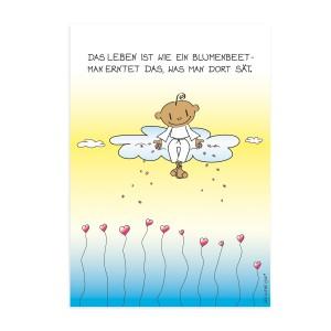 Postkarte - Blumenbeet